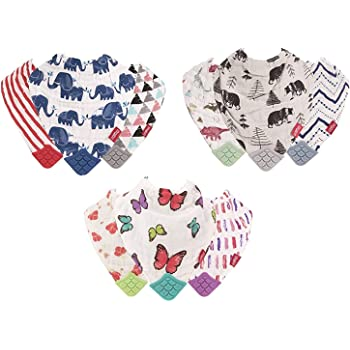 Nuby Nuby 3-Piece Muslin Bandana Bib with Teeth, Colors May Vary