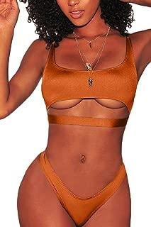 Womens Sexy Scoop Neck Straps Cutout High Cut Thong 2PCS Bikini Sets Swimsuit