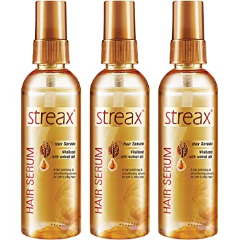 Streax Hair Serum for Women & Men | Contains Walnut Oil | Instant Shine & Smoothness | Regular use Hair Serum for Dry & Wet Hair | Gives frizz – free Hair | Soft & Silky Touch | Pack of 3, 100ml
