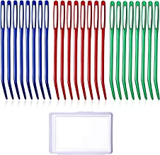 Zhanmai 24 Pieces Yarn Needle Steel Bent Tapestry Knitting Needle Large Sewing Needles with Plastic Box for Weaving Yarn