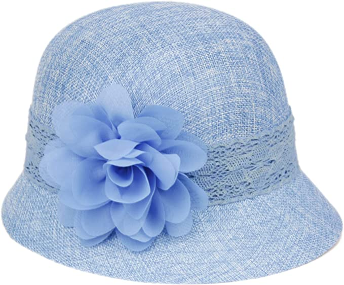 1920s Hat Styles for Women – History Beyond the Cloche Hat Womens Gatsby Linen Cloche Hat with Lace Band and Flower  AT vintagedancer.com