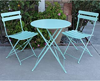 OC Orange-Casual 3-Piece Premium Steel Folding Outdoor Bistro Sets, All-Weather Garden Table and Chairs, StripeDesign–Turquoise