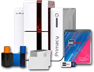 Evolis Primacy Dual Side ID Card Printer & Badge Supplies Bundle with Card Imaging Software