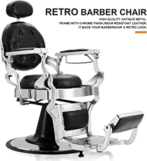 Artist Hand Retro Barber Chair Heavy Duty Barber Chairs Vintage Salon Chair Hydraulic Recline Beauty Spa Styling Equipment Rounded Cushioning with Ppuckered Button(Black)