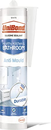 UniBond Anti-Mould White, Waterproof Mould Protection Kitchen & Bathroom Sealant, Long-lasting White Silicone Sealant, Powerful Bath Sealant, 1 x 274g Cartridge