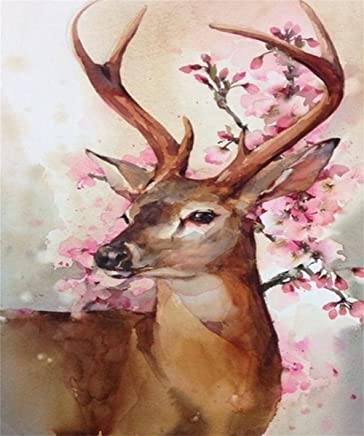 5D Diamond Painting Kits, Full Drill Crystal Rhinestone Embroidery Pictures Arts Craft for Home Wall Decor Deer 12x16inches
