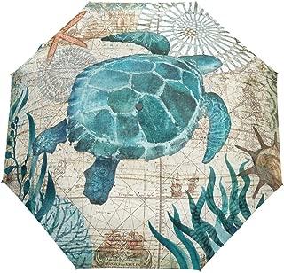 Wamika Vintage Ocean Turtle Umbrella Automatic Open Close Sea Starfish World Map Anti-UV Umbrellas Compact Windproof Lightweight Parasol Umbrella for Travel Car School Sun & Rain