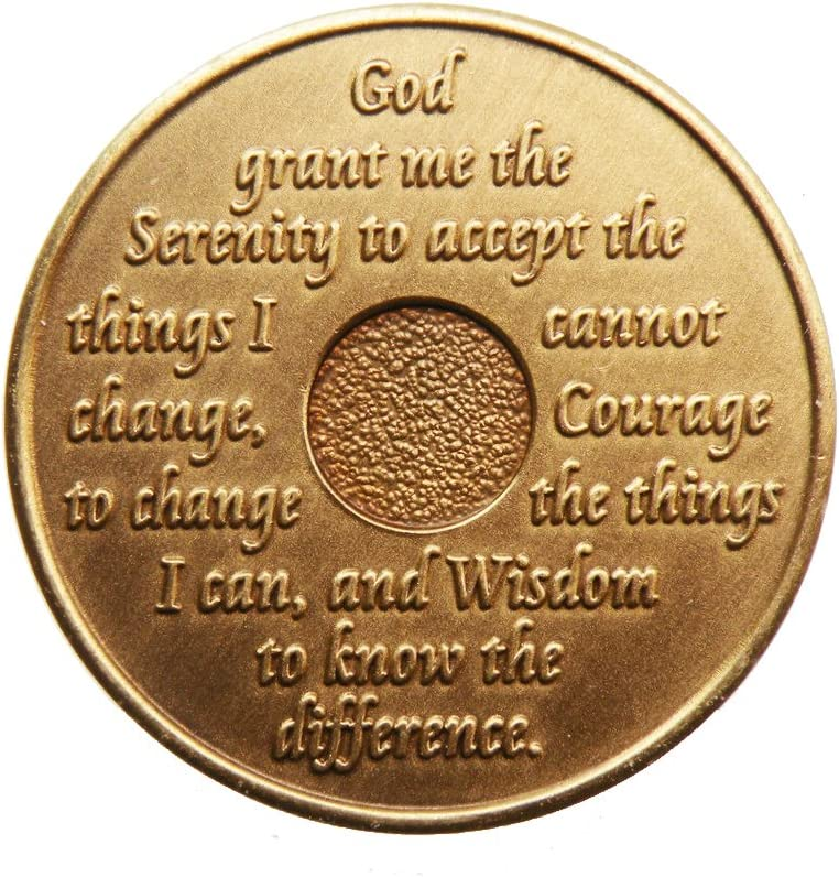 Medallion Alcoholics Anonymous Sober Anniversary Birthday Recovery 2 Month Bronze AA Chip by Generic Coin Sobriety