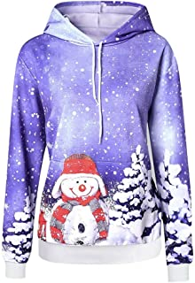 WUAI Women's Ugly Christmas Tree Hoodies Casual Long Sleeve Snowman Reindeer Snowflake Xmas Holiday Tunic Sweatshirt