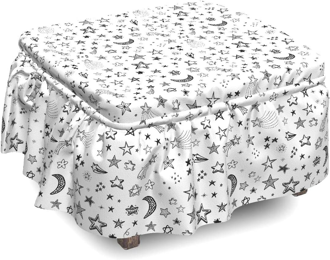 Ambesonne Nursery Max 52% OFF Ranking TOP15 Ottoman Cover Stars Crescent 2 and Piec Moon