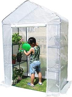 ビニールハウス 温室 棚付きの超高層防雨温室カバー- ポータブル防水プラスチック植物フラワーテントハウス 屋内&屋外用 (Size : Medium)