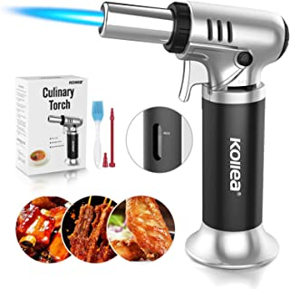 Kollea Butane Torch, Culinary Torch Cooking Torch, Refillable Kitchen Blow Torch Lighter with Adjustable Flame & Gas Gauge...