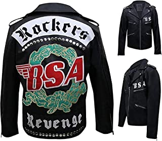 Men's George Michael's BSA Rockers Revenge Studded Black Faux Leather Jacket | Black Vintage Cafe Racer Jacket