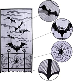 Halloween Curtains For Halloween Door Decorations or Halloween Window Decorations with Bats Spider Web -Great As Halloween Kitchen Decor or Haunted House - 2 Black Lace Curtains 84 x 40 Inches
