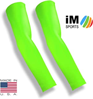 iM Sports Spike Blocker Volleyball Arm Compression Sleeves + Fits Adults & Youth - Unisex + Made in USA (Pair of Full arm Volleyball arm Sleeves)