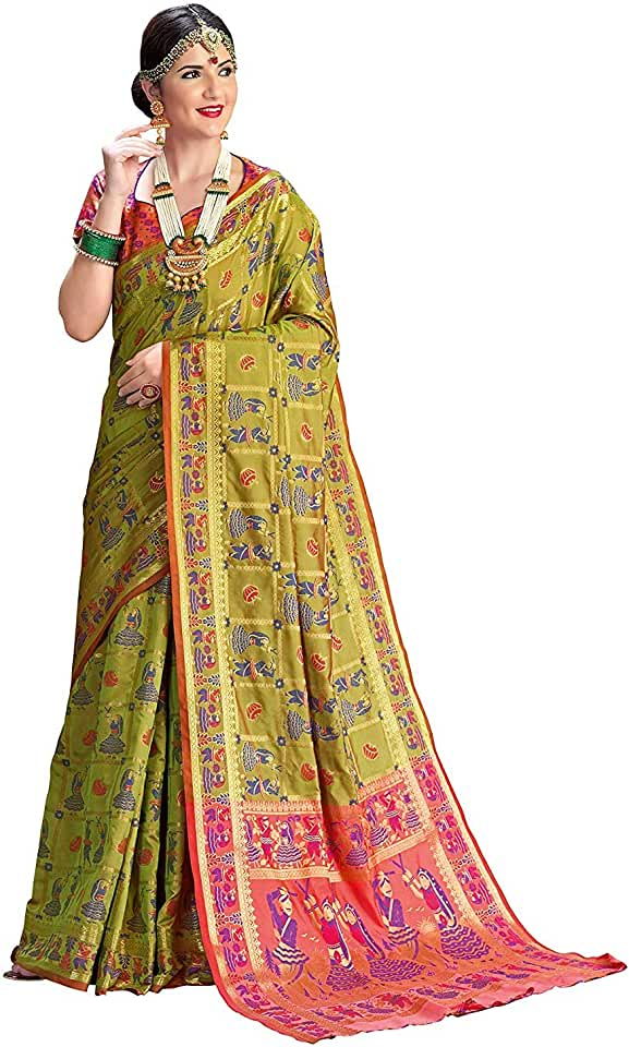 Indian Ethnic Junction Women's Patola Silk Woven Saree With Blouse Piece Saree