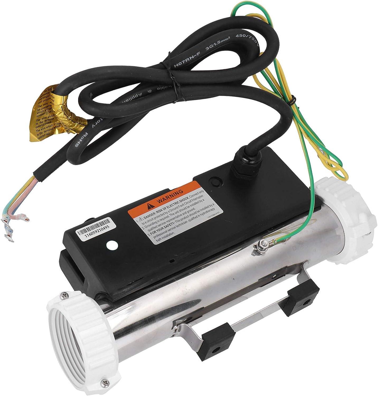 FOLOSAFENAR Calentador de Piscina eléctrico, Bomba de Calentador de Agua de Piscina, Calentador de bañera de Masaje de 1.5KW, Equipo de termostato eléctrico sin Tanque para Piscina de SPA