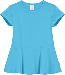 City Threads Big Girls' Cotton Short Sleeve Peplum Blouse Shirt School, Party
