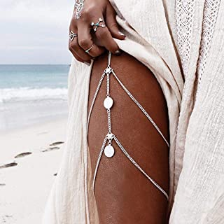 Zoestar Sexy Coin Thigh Chains Multilayer Leg Chain Beach Harness Body Jewelry Accessories for Women and Girls.