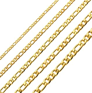 18k Real Gold Plated Figaro Chains 16 Inches 30 Inches Stainless Steel Figaro Link Chain for Men 4MM 8.5MM
