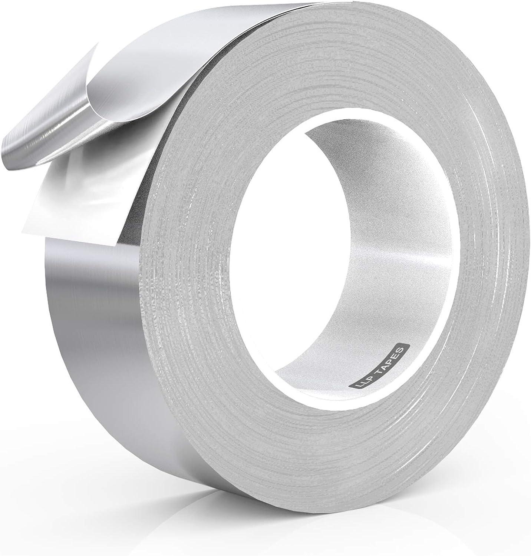 LLPT Cinta de aluminio cinta de reparación cinta de sellado 5 cm x 50 m cinta de aluminio alta temperatura, sellado adhesivo de alto HVAC cinta de aire frío-calor para reparar tuberías de metal