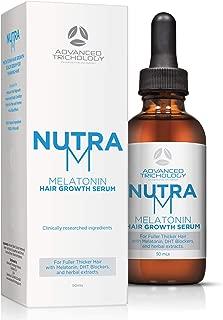 NutraM Melatonin Clinical Hair Growth Serum - DHT Blocker Hair Loss Treatments, Reverse Thinning Hair with Melatonin, and Hair Growth for Men and Women – Guaranteed – Residue Free