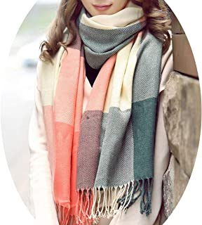 Chibi-store Women's Winter Stole Plaid Scarves Tippet Wraps Brand Ladies Scarf Classic Neckerchief Shawls