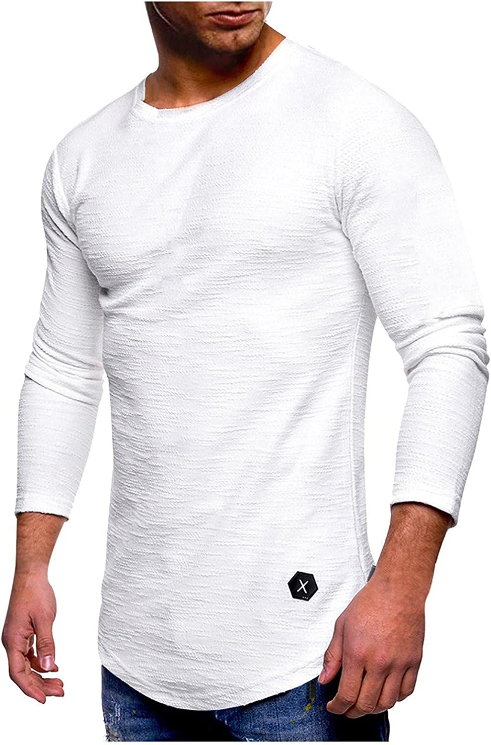 Long Sleeve Tee Shirts for Men Fashion Workout Gym Crewneck Sweatshirts Sport Pullover Muscle T Shirts Tops