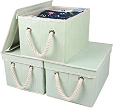 MDCGFOD Storage Bins with Lids 3-Pack Decorative Storage Boxes with Lids Slubbed Fabric Collapsible Basket with Handle for...