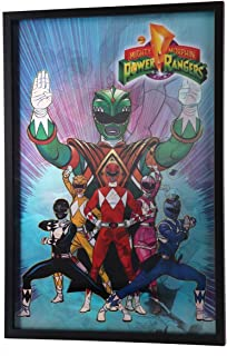Open Road Brands Power Rangers Vintage 3D Lenticular Black Framed Poster - Officially Licensed Product - Perfect Size to Add Some Mighty Morphs Into Your Home Decor