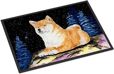 """Caroline's Treasures Starry Night Shiba Inu Indoor Outdoor Doormat, 18"""" x 27"""", Multicolor"""
