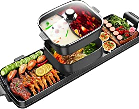 Electric Grill Indoor Hot Pot, 4L Electric Barbecue Stove Multifunctional Shabu Shabu Pot Korean BBQ Grill Smokeless 3 in ...