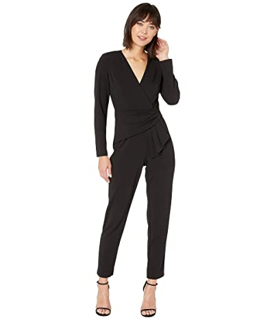 Adrianna Papell Knit Crepe Draped Waist Jumpsuit (Black) Women