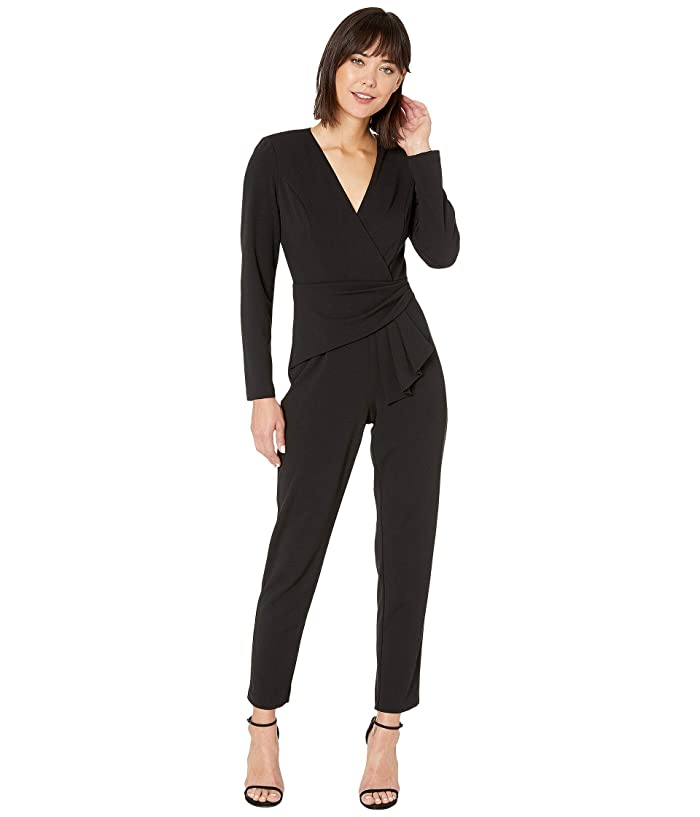 Adrianna Papell  Knit Crepe Draped Waist Jumpsuit (Black) Womens Jumpsuit and Rompers One Piece