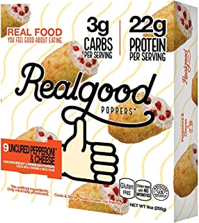 Real Good Foods, Low Carb - High Protein - Gluten Free, Pepperoni & Mozzarella Poppers, 9 oz. (8 Count)