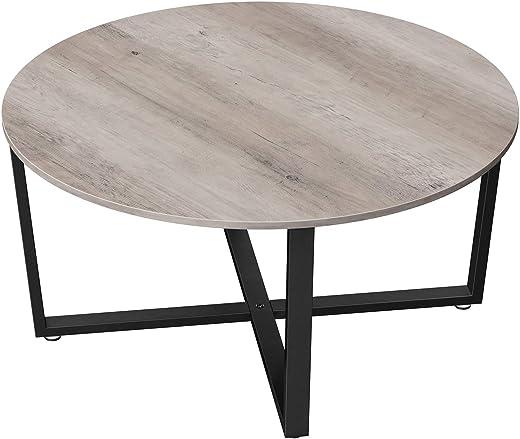 VASAGLE Couchtisch rund, Wohnzimmertisch, Sofatisch, Kaffeetisch, stabiles Stahlgestell, einfacher Aufbau, Industrie-Design, Greige-schwarz LCT088B02