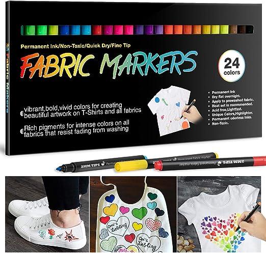 24 Rotuladores para Tela Permanentes-APOGO Marcadores Textiles Indelebles No Tóxicos para Niños Adultos Marcadores de Ropa para Camisetas Blancas, ...