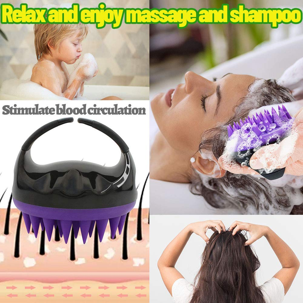 Vebiys Hair Scalp Massager Shampoo Brush - Scalp Brush For Hair Washing - Upgraded Head scrubber, Soft Silicone Bristles For Exfoliating And Remove Dandruff, Improve Hair Growth (Black) : Beauty