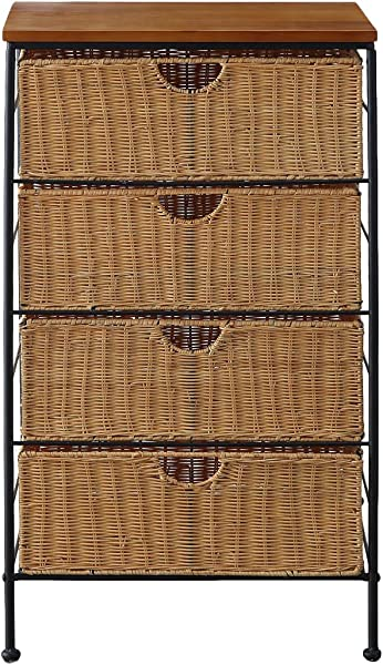 4D Concepts 4 Drawer Wicker Stand Wicker Metal