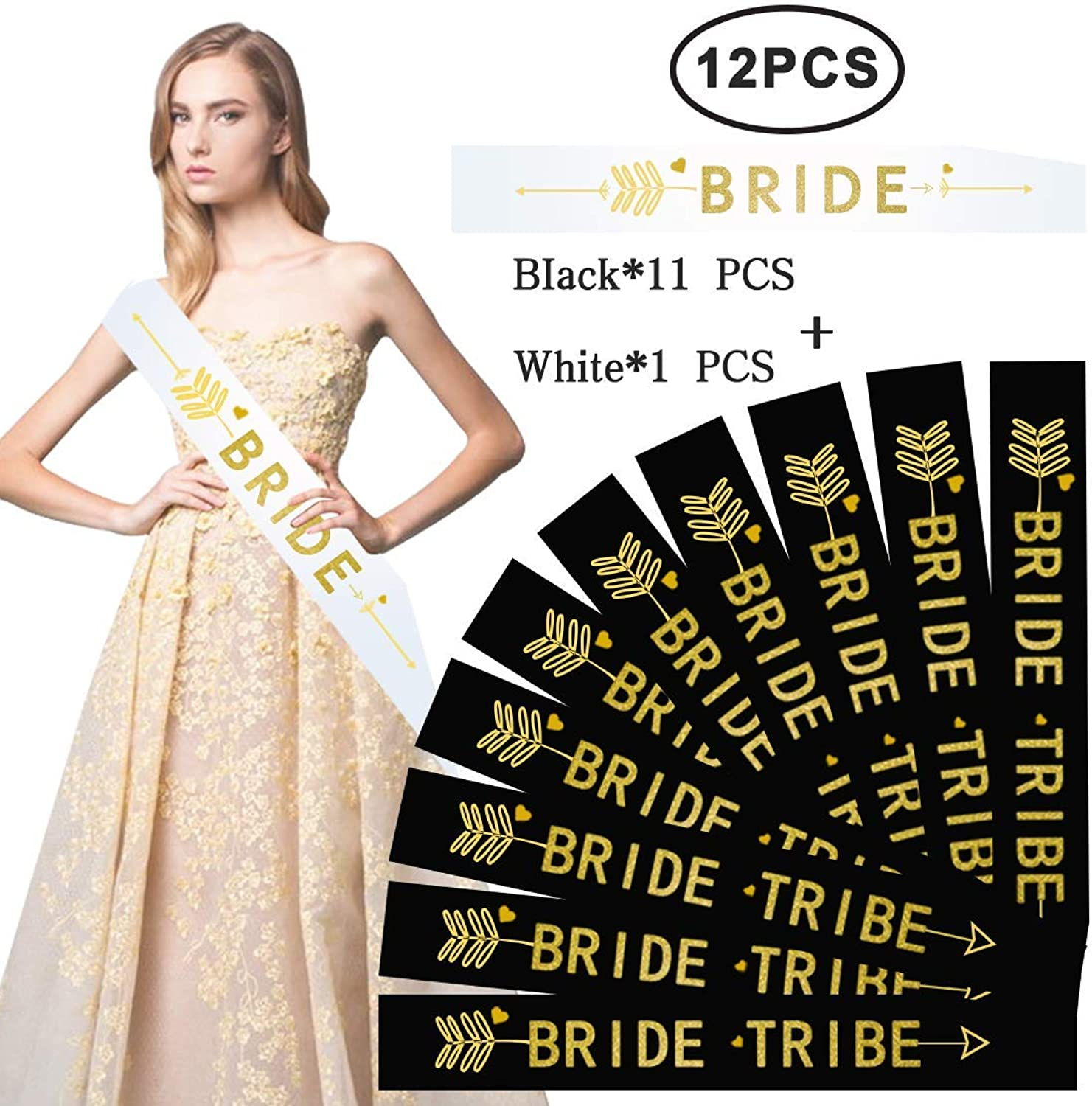 (12 Pack, Black and White)  12 Pack Bride Tribe Sashes Set 11 Black with 1 White Hen Party Sashes Decoration Team Bride and Girls Ladies Night Out (Black and White)