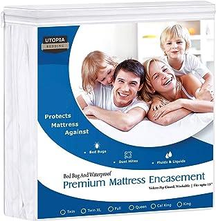 Utopia Bedding Premium Zippered Waterproof Mattress Encasement - Zipper Opening Protector - Fits 15 Inches Deep - Bed Bug Proof (Queen)