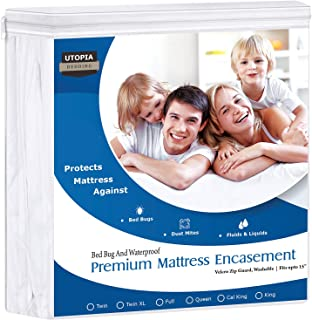 Utopia Bedding Premium Zippered Waterproof Mattress Encasement - Zipper Opening Protector - Fits 15 Inches Deep - Bed Bug Proof (Queen)