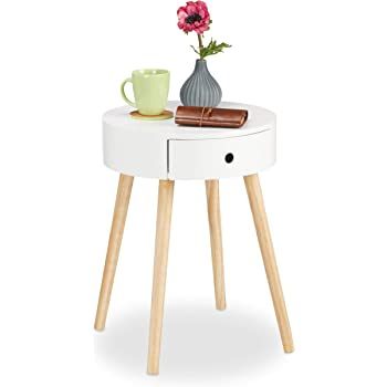 HxlxP Relaxdays 10020979  Table d/'appoint table de chevet scandinave nordique avec plateau amovible rangement 50 x 38 x 38 cm blanc