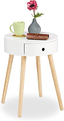 GMMH Design Retro Side Tables 48 cm Wood White Coffee Table Bedside Table Design13-4