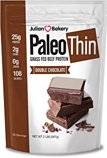 Sponsored Ad - Julian Bakery Paleo Thin Protein Powder | Double Chocolate | Grass-Fed Beef Protein | 25g Protein | 2 Net C...