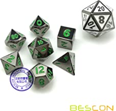 Bescon 10MM Mini Solid Metal Dice Set Glossy Metallic Surface with Green Numbers, Mini Metal Polyhedral D&D RPG Miniature Dice 7-Set