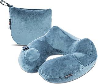 ネックピロー BestMaxs トラベルピロー 旅行便利グッズ トラベル 飛行機 持ち運び便利 手動プレス式 洗えるカバー (グレー)
