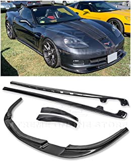 For 2005-2013 Chevrolet Corvette C6 Wide Body Models | ZR1 Style Front Bumper Lower Lip Splitter With Side Skirts Rocker Panels Mud Flaps Pair (Carbon Fiber)