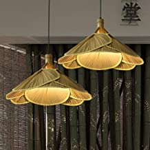 Mopoq Rattan Ceiling Lamp With Fan And Bamboo Lights, Retro Style (Size : 2pcs)