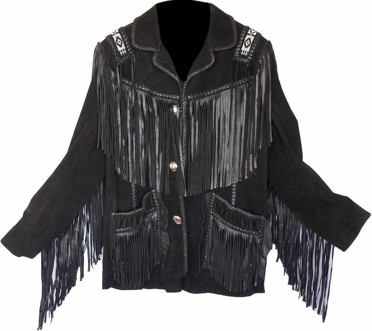 SleekHides Men's Western Cowboy Fringed & Beaded Suede Leather Jacket